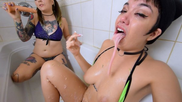 Filthy Brat Felicia + Little Puck Perversions - TWO GIRL PUKE DILDO FACEFUCK With PUKE CONFESSIONS part 1+2 (puke, vomit, bath, 1080p)