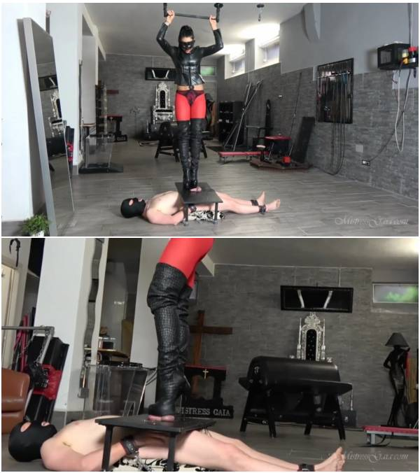 MistressGaia - Sexy Leather Bootjob (scat puke video)