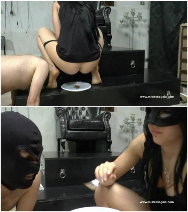 MistressGaia - Feeds Her Slave (scat mistress video)